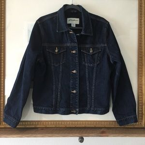 Eddie Bauer Denim Jean Jacket Button Dark Wash
